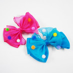 "5"" Layered Gator Clip Bows w/  Multi Color Pom Poms .54 ea"
