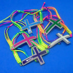 Handmade Multi Color Macrame Bracelet w/ Colorful Cross .50 each