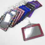 "3.5"" Acrylic Stone Horizontal ID Holder Clip w/ Keychain .54 each"