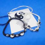 Black & White Macrame Bracelet w/ Silver Beads & Ying Yang .54 ea