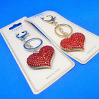 Gold & Silver Metal Key Chains w/ Red Crystal Stones .54 ea