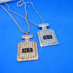 "2"" Gold & Silver Perfume Bottle Bling Necklace w/ Crystal Stones .56 ea"