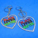 "2"" Bling Crystal Stone Edge Black Lives Matter Heart Keychains  .25 each"
