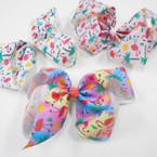 "6"" Flamingo & Palm Tree Print Gator Clip Bows .56 each"