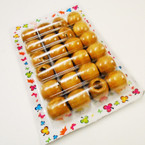 24 Pack 15MM Lite Wood Hair Deco Beads  .50 per pack
