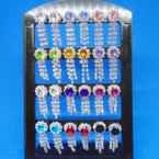 Rhinestone Dangle Earrings w/ Colored Stone 12 pair display .54 each