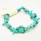 Turquoise Stone Turtle & Starfish Stretch Bracelet   .54 ea