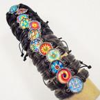 Teen Leather Bracelet Asst 12 Styles w/ Silver Frame  .54 ea