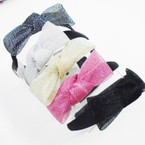 "Black Fashion Headbands w/ 4.5"" Mesh Bow Asst Colors .54 ea"