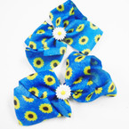 "5"" Denium Fabric Sunflower Pattern Gator Clip Bows    .54 each"
