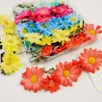 Full Size Asst Colors Flower Headbands w/ Elastic Back .54 ea