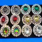 Chunky Oval Crystal Stone  Rings 12 per display  .40 ea