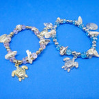 Gold/Sil Crystal Stone & Shell Stretch Bracelet w/ Under the Sea Charms .54 ea