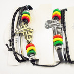 3 Strand Leather Rasta Style Bracelets w/ Gold/Silver Africa Map .54 ea