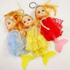 "6"" Lace Dress Tiara Mermaid Theme Doll Keychain .60 each"