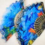 "9"" Black & White Handle Under the Sea Theme Lace Fan .54 each"
