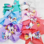"5.5"" Pastel Color Unicorn Theme Gator Clip Bows .54 ea"
