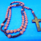 "36"" Brown Macrame Rosary w/ Rose Beads & Wood Cross .50 each"