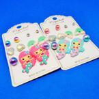 6 Pair Kids Mermaid Theme Fashion Earring Set .52 per set