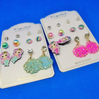 Cute 6 Pair Kid Mermaid Theme Fashion Earring Set .52 per set