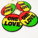 "2.25"" Round Rasta Color ONE LOVE Wood Fashion Earrings .54ea"