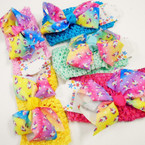 "2.5"" Crochet Headwrap w/ 4"" Unicorn Theme Bow .52 each"