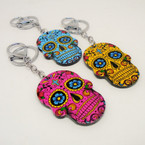 "2.5"" Mixed Color Sugar Skull Keychain w/ Clip .54 each"