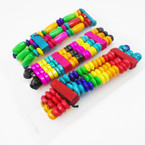 Handmade 3 Strand Wood Beaded Stretch Bracelets Multi Colors .52 ea