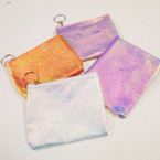 "4.5"" Shiny Metallic Color Zipper Purse w/ Keychain .52 ea"