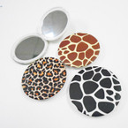 "3"" Mixed Animal Print Round DBL Compact Mirror .56 each"