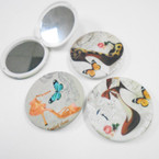 "3"" High Heel & Butterfly Print Round DBL Compact Mirror .56 each"