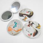 "3"" High Heel & Butterfly Print Round DBL Compact Mirror .56 each"