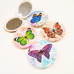 "3"" Butterfly Theme Round DBL Compact Mirror in Display  .56 each"