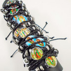 Guadalupe Theme Triple Leather Cord  Bracelets  .54 each
