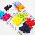 "4 Pk 2.5"" Solid Color Ribbon Gator Clip Bows .39 per set"
