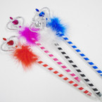 "12"" Jewel Heart Scepter Pen w/ Faux Fur 12 per pk .50 ea"