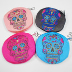 "4.5"" Sugar Skull Theme Zipper Coin Purses .54 ea"