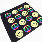 "21"" Square Peace & Happy Face Theme Bandana's .52 each"