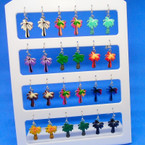 NEW Colorful Palm Tree Earrings on display card .54 per pair