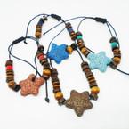 Colorful Star Lava Rock Wood Bead Bracelets .54 ea