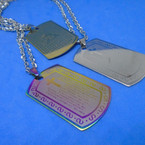 Silver Chain Necklace w/ Stainless Steel Lords Prayer Dog Tag Spanish .54 ea