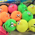 "2.5"" Neon Color Flashing Silly Bird Puffer Balls 12 per display .54 ea"
