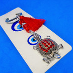 Cast Silver Turtle Keychains w/ Red Crystal Stones & Bead w/ Tassel .54 ea