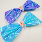 "6.5"" Water Resistant Shiney Metallic Gator Clip Bows w/ Mermaid Figure .54 ea"