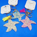 Crystal Stone Bling Starfish Keychain/Purse Charm w/ Tassel .54 each