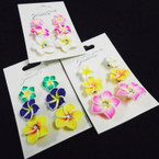 3 Pair Hawaiian Flower Fashion Earrings .54 per set