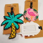 Durable Flamingo & Palm Tree Luggage Tags 12 per pk .56 each