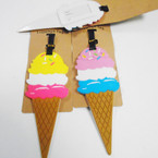 "7"" Durable Ice Cream Cone Theme Luggage Tags 12 per pk .56 each"