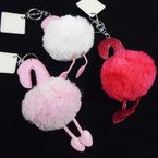 "6"" Faux Fur Pom Pom Keychain Sparkle Flamingo Theme .56 each"