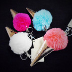 "5"" Faux Fur Pom Pom Keychain w/ Gold Unicorn Horn  .54 each"